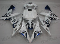 OEM quality fairings and body kits for 2004 2005 2006 Yamaha YZF-R1 with white and blue flame color scheme/graphics, these fairing kits are oem quality, fast shipping and easy installtion. More factory color-matched fairings for YZF-R1 2004 2005 2006, team race replica fairings and custom fairing sets for Yamaha YZF-R1 2004 2005 2006, please browse iFairings.com.