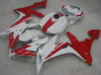 OEM quality fairings and body kits for 2004 2005 2006 Yamaha YZF-R1 with red and white color scheme/graphics, these fairing kits are oem quality, fast shipping and easy installtion. More factory color-matched fairings for YZF-R1 2004 2005 2006, team race replica fairings and custom fairing sets for Yamaha YZF-R1 2004 2005 2006, please browse iFairings.com.