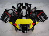 Honda CBR600 F3 1997 1998 red bull fairing kits, 1997 1998 Honda CBR600 F3 red bull plastic.This Honda CBR600 F3 1997 1998 fairing kits was applied in red bull graphics, this 1997 1998 CBR600 fairing set comes with the both color and decals shown as the photo.If you want to do custom fairings for CBR600 F3 1997 1998,our talented airbrusher will custom it for you