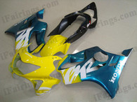Honda CBR600 F4 1999 2000 yellow/blue fairing kits, 1999 2000 Honda CBR600 F4 yellow/blue plastic.This Honda CBR600 F4 1999 2000 fairing kits was applied in yellow/blue graphics, this 1999 2000 CBR600 fairing set comes with the both color and decals shown as the photo.If you want to do custom fairings for CBR600 F4 1999 2000,our talented airbrusher will custom it for you