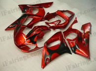OEM quality fairings and body kits for 1998 1999 2000 2001 2002 Yamaha YZF-R6 with red and black color scheme/graphics, these fairing kits are oem quality, fast shipping and easy installtion. More factory color-matched fairings for YZF-R6 1998 1999 2000 2001 2002, team race replica fairings and custom fairing sets for Yamaha YZF-R6 1998 1999 2000 2001 2002, please browse iFairings.com.