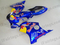 Honda CBR600 F4 1999 2000 red bull fairing kits, 1999 2000 Honda CBR600 F4 red bull plastic.This Honda CBR600 F4 1999 2000 fairing kits was applied in red bull graphics, this 1999 2000 CBR600 fairing set comes with the both color and decals shown as the photo.If you want to do custom fairings for CBR600 F4 1999 2000,our talented airbrusher will custom it for you
