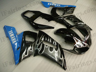 OEM quality fairings and body kits for 1998 1999 2000 2001 2002 Yamaha YZF-R6 with white flame color scheme/graphics, these fairing kits are oem quality, fast shipping and easy installtion. More factory color-matched fairings for YZF-R6 1998 1999 2000 2001 2002, team race replica fairings and custom fairing sets for Yamaha YZF-R6 1998 1999 2000 2001 2002, please browse iFairings.com.