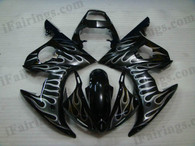 OEM quality fairings and body kits for 2003 2004 2005 Yamaha YZF-R6 with black and white flame color scheme/graphics, these fairing kits are oem quality, fast shipping and easy installtion. More factory color-matched fairings for YZF-R6 2003 2004 2005, team race replica fairings and custom fairing sets for Yamaha YZF-R6 2003 2004 2005, please browse iFairings.com.