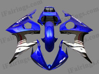 OEM quality fairings and body kits for 2003 2004 2005 Yamaha YZF-R6 with blue and black color scheme/graphics, these fairing kits are oem quality, fast shipping and easy installtion. More factory color-matched fairings for YZF-R6 2003 2004 2005, team race replica fairings and custom fairing sets for Yamaha YZF-R6 2003 2004 2005, please browse iFairings.com.