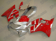 Honda CBR600 F4 1999 2000 silver and red fairing kits, 1999 2000 Honda CBR600 F4 silver and red plastic.This Honda CBR600 F4 1999 2000 fairing kits was applied in silver and red graphics, this 1999 2000 CBR600 fairing set comes with the both color and decals shown as the photo.If you want to do custom fairings for CBR600 F4 1999 2000,our talented airbrusher will custom it for you