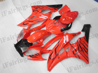 OEM quality fairings and body kits for 2006 2007 Yamaha YZF-R6 with red and black flame color scheme/graphics, these fairing kits are oem quality, fast shipping and easy installtion. More factory color-matched fairings for YZF-R6 2006 2007, team race replica fairings and custom fairing sets for Yamaha YZF-R6 2006 2007, please browse iFairings.com.