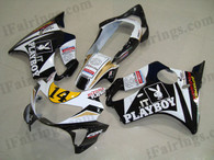 Honda CBR600 F4 1999 2000 PLAYBOY fairing kits, 1999 2000 Honda CBR600 F4 PLAYBOY plastic.This Honda CBR600 F4 1999 2000 fairing kits was applied in PLAYBOY graphics, this 1999 2000 CBR600 fairing set comes with the both color and decals shown as the photo.If you want to do custom fairings for CBR600 F4 1999 2000,our talented airbrusher will custom it for you