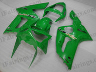 OEM quality fairings and body kits for 2003 2004 Kawasaki ZX6R Ninja with green color scheme/graphics, these fairing kits are oem quality, fast shipping and easy installtion. More factory color-matched fairings for ZX6R Ninja 2003 2004, team race replica fairings and custom fairing sets for Kawasaki ZX6R Ninja 2003 2004, please browse iFairings.com.