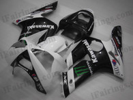 OEM quality fairings and body kits for 2003 2004 Kawasaki ZX6R Ninja with white/black monster color scheme/graphics, these fairing kits are oem quality, fast shipping and easy installtion. More factory color-matched fairings for ZX6R Ninja 2003 2004, team race replica fairings and custom fairing sets for Kawasaki ZX6R Ninja 2003 2004, please browse iFairings.com.