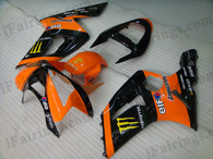 OEM quality fairings and body kits for 2003 2004 Kawasaki ZX6R Ninja with orange/black monster color scheme/graphics, these fairing kits are oem quality, fast shipping and easy installtion. More factory color-matched fairings for ZX6R Ninja 2003 2004, team race replica fairings and custom fairing sets for Kawasaki ZX6R Ninja 2003 2004, please browse iFairings.com.