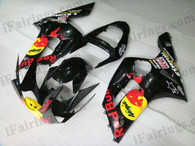 OEM quality fairings and body kits for 2003 2004 Kawasaki ZX6R Ninja with RedBull color scheme/graphics, these fairing kits are oem quality, fast shipping and easy installtion. More factory color-matched fairings for ZX6R Ninja 2003 2004, team race replica fairings and custom fairing sets for Kawasaki ZX6R Ninja 2003 2004, please browse iFairings.com.