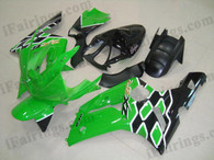 OEM quality fairings and body kits for 2003 2004 Kawasaki ZX6R Ninja with green and black color scheme/graphics, these fairing kits are oem quality, fast shipping and easy installtion. More factory color-matched fairings for ZX6R Ninja 2003 2004, team race replica fairings and custom fairing sets for Kawasaki ZX6R Ninja 2003 2004, please browse iFairings.com.