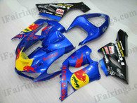OEM quality fairings and body kits for 2005 2006 Kawasaki ZX6R Ninja with RedBull replica color scheme/graphics, these fairing kits are oem quality, fast shipping and easy installtion. More factory color-matched fairings for ZX6R Ninja 2005 2006, team race replica fairings and custom fairing sets for Kawasaki ZX6R Ninja 2005 2006, please browse iFairings.com.