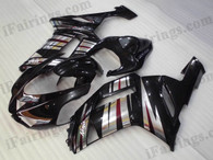 OEM quality fairings and body kits for 2007 2008 Kawasaki ZX6R Ninja with black and silver strips color scheme/graphics, these fairing kits are oem quality, fast shipping and easy installtion. More factory color-matched fairings for ZX6R Ninja 2007 2008, team race replica fairings and custom fairing sets for Kawasaki ZX6R Ninja 2007 2008, please browse iFairings.com.