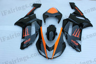 OEM quality fairings and body kits for 2007 2008 Kawasaki ZX6R Ninja with black with orange monster logo color scheme/graphics, these fairing kits are oem quality, fast shipping and easy installtion. More factory color-matched fairings for ZX6R Ninja 2007 2008, team race replica fairings and custom fairing sets for Kawasaki ZX6R Ninja 2007 2008, please browse iFairings.com.