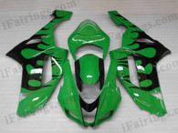 OEM quality fairings and body kits for 2007 2008 Kawasaki ZX6R Ninja with green and black flame color scheme/graphics, these fairing kits are oem quality, fast shipping and easy installtion. More factory color-matched fairings for ZX6R Ninja 2007 2008, team race replica fairings and custom fairing sets for Kawasaki ZX6R Ninja 2007 2008, please browse iFairings.com.
