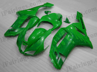 OEM quality fairings and body kits for 2007 2008 Kawasaki ZX6R Ninja with green and flame color scheme/graphics, these fairing kits are oem quality, fast shipping and easy installtion. More factory color-matched fairings for ZX6R Ninja 2007 2008, team race replica fairings and custom fairing sets for Kawasaki ZX6R Ninja 2007 2008, please browse iFairings.com.