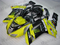 OEM quality fairings and body kits for 2007 2008 Kawasaki ZX6R Ninja with yellow/black monster scheme color scheme/graphics, these fairing kits are oem quality, fast shipping and easy installtion. More factory color-matched fairings for ZX6R Ninja 2007 2008, team race replica fairings and custom fairing sets for Kawasaki ZX6R Ninja 2007 2008, please browse iFairings.com.