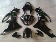 OEM quality fairings and body kits for 2009 2010 2011 2012 Kawasaki ZX6R ZX636 Ninja with black with monster logo color scheme/graphics, these fairing kits are oem quality, fast shipping and easy installtion. More factory color-matched fairings for ZX6R ZX636 Ninja 2009 2010 2011 2012, team race replica fairings and custom fairing sets for Kawasaki ZX6R ZX636 Ninja 2009 2010 2011 2012, please browse iFairings.com.