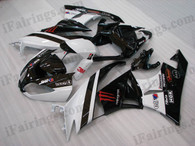 OEM quality fairings and body kits for 2009 2010 2011 2012 Kawasaki ZX6R ZX636 Ninja with black/white monster color scheme/graphics, these fairing kits are oem quality, fast shipping and easy installtion. More factory color-matched fairings for ZX6R ZX636 Ninja 2009 2010 2011 2012, team race replica fairings and custom fairing sets for Kawasaki ZX6R ZX636 Ninja 2009 2010 2011 2012, please browse iFairings.com.