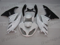 OEM quality fairings and body kits for 2009 2010 2011 2012 Kawasaki ZX6R ZX636 Ninja with white and black color scheme/graphics, these fairing kits are oem quality, fast shipping and easy installtion. More factory color-matched fairings for ZX6R ZX636 Ninja 2009 2010 2011 2012, team race replica fairings and custom fairing sets for Kawasaki ZX6R ZX636 Ninja 2009 2010 2011 2012, please browse iFairings.com.