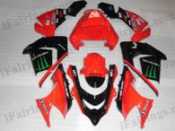 OEM quality fairings and body kits for 2004 2005 Kawasaki ZX10R with red monster scheme color scheme/graphics, these fairing kits are oem quality, fast shipping and easy installtion. More factory color-matched fairings for ZX10R 2004 2005, team race replica fairings and custom fairing sets for Kawasaki ZX10R 2004 2005, please browse iFairings.com.