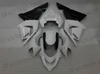 OEM quality fairings and body kits for 2004 2005 Kawasaki ZX10R with white and black color scheme/graphics, these fairing kits are oem quality, fast shipping and easy installtion. More factory color-matched fairings for ZX10R 2004 2005, team race replica fairings and custom fairing sets for Kawasaki ZX10R 2004 2005, please browse iFairings.com.