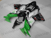OEM quality fairings and body kits for 2008 2009 2010 Kawasaki ZX10R with green, white and black color scheme/graphics, these fairing kits are oem quality, fast shipping and easy installtion. More factory color-matched fairings for ZX10R 2008 2009 2010, team race replica fairings and custom fairing sets for Kawasaki ZX10R 2008 2009 2010, please browse iFairings.com.
