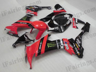 OEM quality fairings and body kits for 2008 2009 2010 Kawasaki ZX10R with red and black monster color scheme/graphics, these fairing kits are oem quality, fast shipping and easy installtion. More factory color-matched fairings for ZX10R 2008 2009 2010, team race replica fairings and custom fairing sets for Kawasaki ZX10R 2008 2009 2010, please browse iFairings.com.
