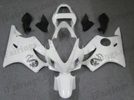 Honda CBR600 F4i 2001 2002 2003 pearl white fairing kits, this Honda CBR600 F4i 2001 2002 2003 plastics was applied in pearl white graphics, this 2001 2002 2003 CBR600 fairing set comes with the both color and decals shown as the photo.If you want to do custom fairings for CBR600 F4i 2001 2002 2003,our talented airbrusher will custom it for you