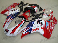 OEM quality fairings and body kits for Ducati 848/1098/1198 with bayliss color scheme/graphics, these fairing kits are oem quality, fast shipping and easy installtion. More factory color-matched fairings for Ducati 848/1098/1198, team race replica fairings and custom fairing sets for Ducati 848/1098/1198, please browse iFairings.com.
