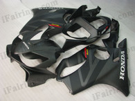 Honda CBR600 F4i 2001 2002 2003 matt/flat black fairing kits, this Honda CBR600 F4i 2001 2002 2003 plastics was applied in matt/flat black graphics, this 2001 2002 2003 CBR600 fairing set comes with the both color and decals shown as the photo.If you want to do custom fairings for CBR600 F4i 2001 2002 2003,our talented airbrusher will custom it for you