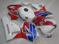 OEM quality replacement fairing sets for Honda CBR600RR 2013 2014 with factory color scheme red, blue and white.  The fairings are injection molds made and 100% precisely fit Honda Factory bike. All Honda sponsors decals/stickers are applied on the fairings. Custom painting job is acceptable.