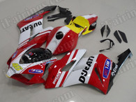 OEM replacement motorcycle fairing sets for Honda CBR1000RR 2004 2005 with Ducati decals/stickers. This fairing kit is applied the Ducati graphic and looks amazing. The body kits for 2004 2005 CBR1000RR are injection molds made and 100% precisely fit Honda factory bike. Custom order is acceptable.