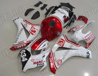 Customized fairing kits for Honda CBR1000RR 2008 2009 2010 2011 in red and white color, this fairing kit was applied custom painting scheme with some new sponsors, this bodywork looks amazing. if you want to do similar custom fairing, please let us know.