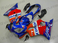 Honda CBR600 F4i 2004 2005 2006 2007 repsol red and blue fairing kits, this Honda CBR600 F4i 2004 2005 2006 2007 plastics was applied in repsol red and blue graphics, this 2004 2005 2006 2007 CBR600 fairing set comes with the both color and decals shown as the photo.If you want to do custom fairings for CBR600 F4i 2004 2005 2006 2007,our talented airbrusher will custom it for you