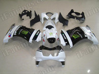 OEM replacement motorcycle fairing sets for Kawasaki Ninja 250R EX250 2008 to 2012 with monster graphic, this fairing was sprayed white and black color scheme and applied monster logos and decals.