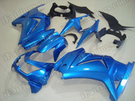 OEM quality aftermarket fairing sets for Kawasaki Ninja 250R EX250 2008 to 2012 in blue color, this fairing is only sprayed blue color without any decals. Logos and sponsors decals can be added as wish.