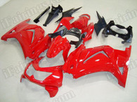 OEM quality aftermarket fairing sets for Kawasaki Ninja 250R EX250 2008 to 2012 in red color, this fairing is only sprayed red color without any decals. Logos and sponsors decals can be added as wish.