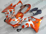 Honda CBR600 F4i 2004 2005 2006 2007 orange and silver fairing kits, this Honda CBR600 F4i 2004 2005 2006 2007 plastics was applied in orange and silver graphics, this 2004 2005 2006 2007 CBR600 fairing set comes with the both color and decals shown as the photo.If you want to do custom fairings for CBR600 F4i 2004 2005 2006 2007,our talented airbrusher will custom it for you