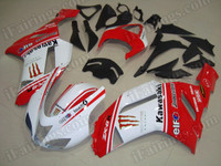 OEM replacement fairing sets for Kawasaki ZX6R Ninja 636 2007 2008 red and white monster. this fairing kit was sprayed red and white color scheme with Monster stickers and monster logos.
