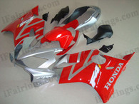 Honda CBR600 F4i 2004 2005 2006 2007 red and silver fairing kits, this Honda CBR600 F4i 2004 2005 2006 2007 plastics was applied in red and silver graphics, this 2004 2005 2006 2007 CBR600 fairing set comes with the both color and decals shown as the photo.If you want to do custom fairings for CBR600 F4i 2004 2005 2006 2007,our talented airbrusher will custom it for you