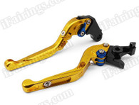 Gold CNC adjustable folding and extendable levers for Honda CBR600RR 2003 2004 2005 2006 (F-29/Y-688H). Our levers are designed as a direct replacement of the stock levers but more benefit over the stock ones.