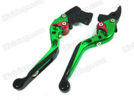 Green/Black CNC adjustable folding and extendable levers for Honda CBR600RR 2007 to 2012 (F-33/Y-688H). Our levers are designed as a direct replacement of the stock levers but more benefit over the stock ones.