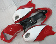 Motorcycle fairings for Ducati Monster 696/796/1100 red and white, these fairings are injection molded and 100% fit factory bike. All the fairings are fast and free shipping.