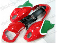 Motorcycle fairings for Ducati Monster 696/796/1100 red and greeb, these fairings are injection molded and 100% fit factory bike. All the fairings are fast and free shipping.