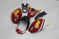 Motorcycle fairings for Ducati Monster 696/796/1100 volentino rossi motogp replica, these fairings are injection molded and 100% fit factory bike. All the fairings are fast and free shipping.