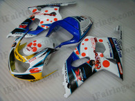 Suzuki GSXR600/750 2001 2002 2003 pepe phone fairing kits, this Suzuki GSXR600/750 2001 2002 2003 plastics was applied in pepe phone graphics, this 2001 2002 2003 GSXR600/750 fairing set comes with the both color and decals shown as the photo.If you want to do custom fairings for GSXR600/750 2001 2002 2003,our talented airbrusher will custom it for you.