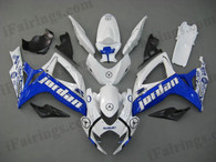 Suzuki GSXR600/750 2006 2007 jordan replica fairing kits, this Suzuki GSXR600/750 2006 2007 plastics was applied in jordan replica graphics, this 2006 2007 GSXR600/750 fairing set comes with the both color and decals shown as the photo.If you want to do custom fairings for GSXR600/750 2006 2007,our talented airbrusher will custom it for you